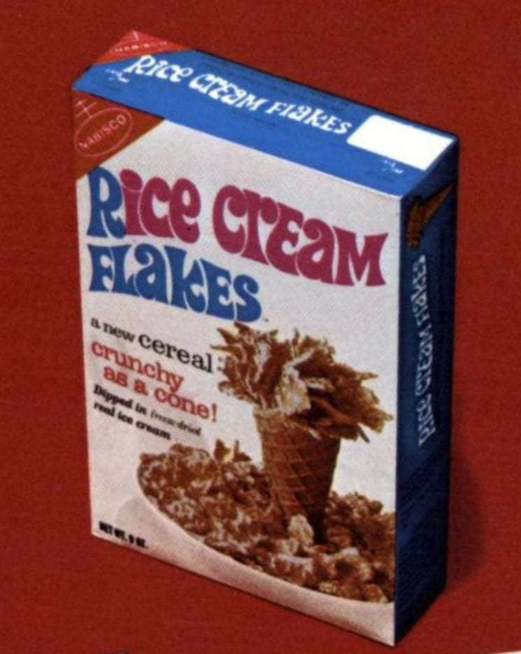 Vintage Nabisco Rice Cream Flakes cereal from 1967