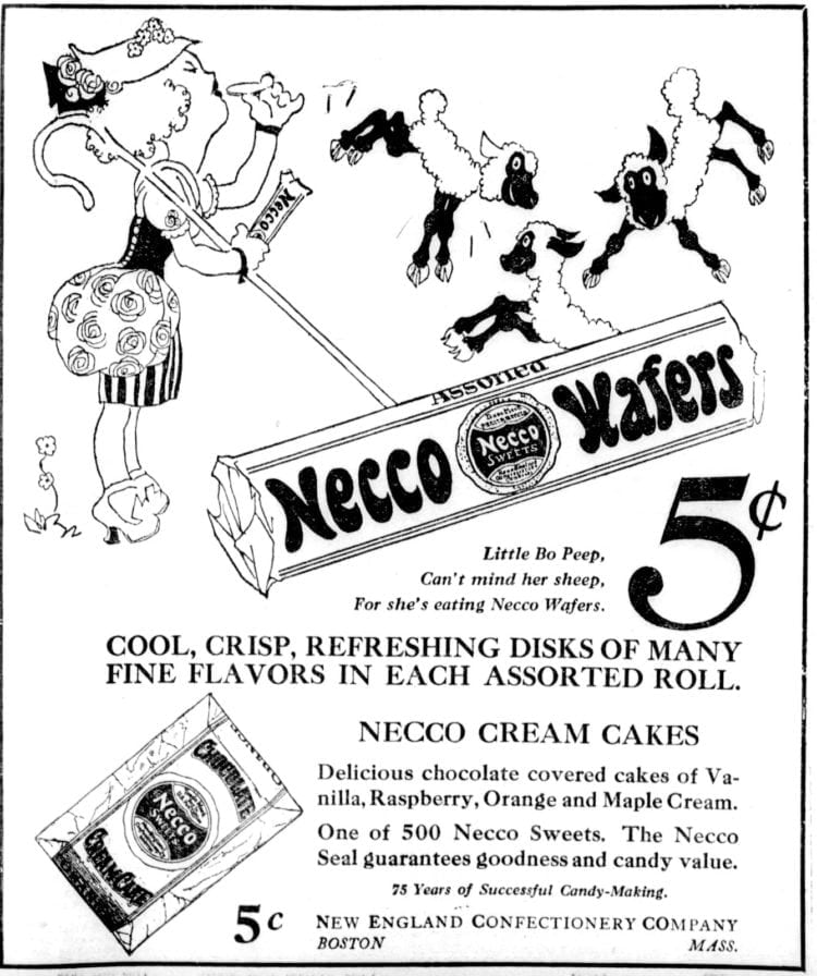Vintage Necco candy ad from 1922