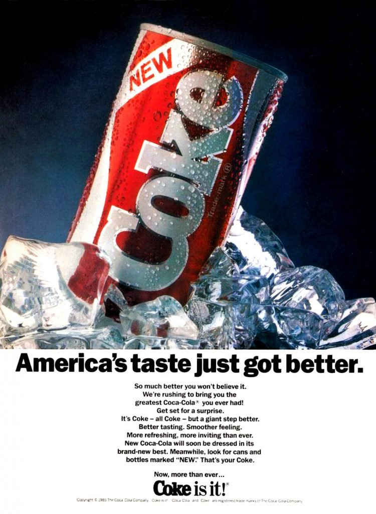 Vintage New Coke ad from 1985