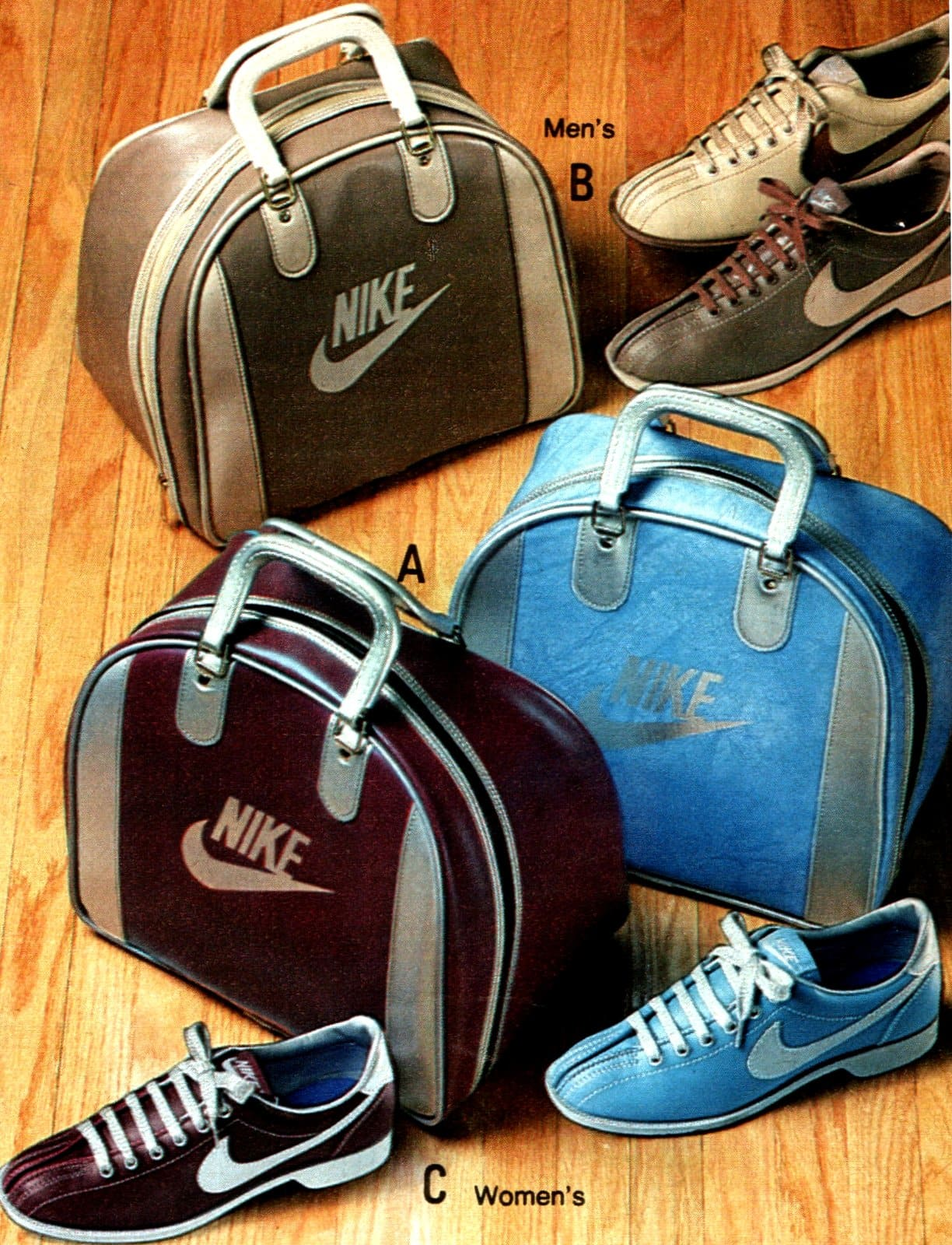 Vintage Nike bowling shoes & bowling ball bag set (1983)