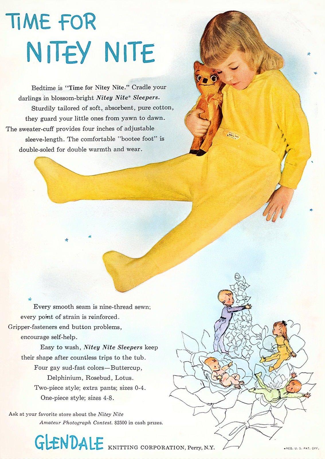 Vintage Nitey Nite sleepers - Footed pajamas for kids (1948)