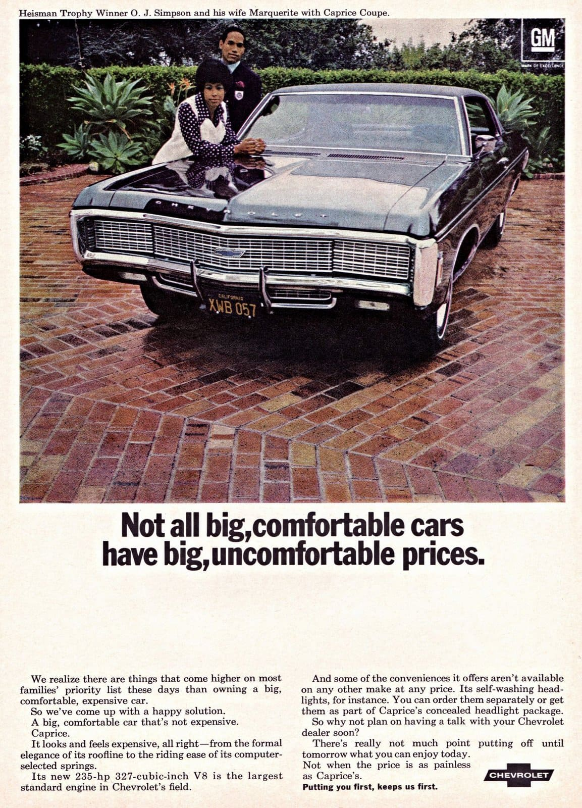 Vintage OJ Simpson and Chevrolet Caprice Coupe car