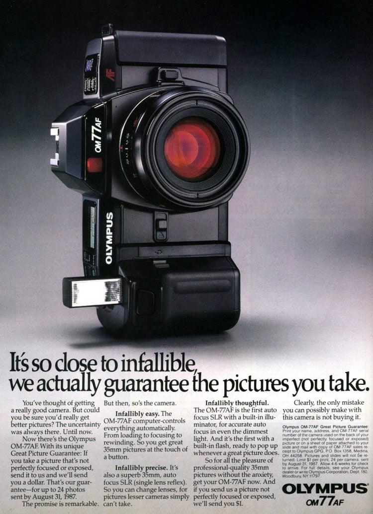 Vintage Olympus OM-77AF autofocus camera from 1987