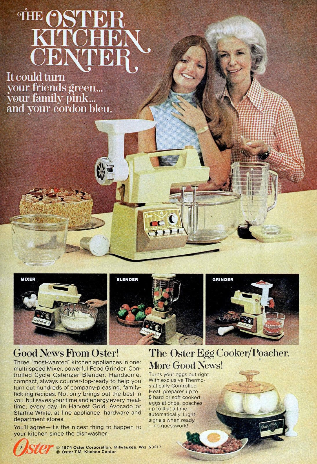 Vintage Oster Kitchen Center stand mixer and tools (1974)