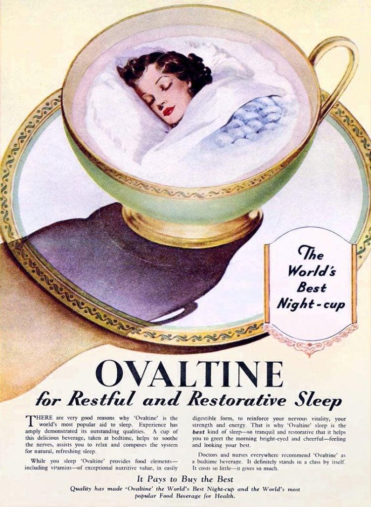 Vintage Ovaltine for sleep (c1930s)