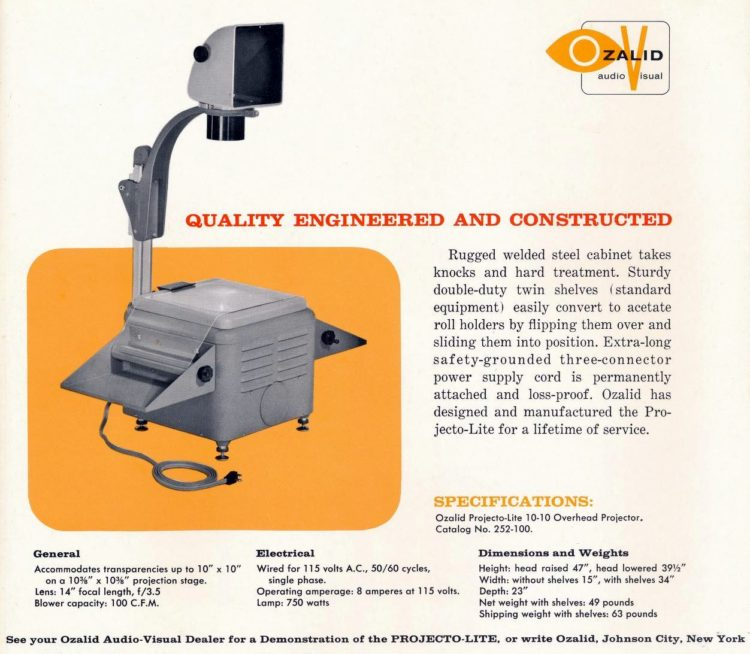 Old-fashioned overhead projectors for school and work