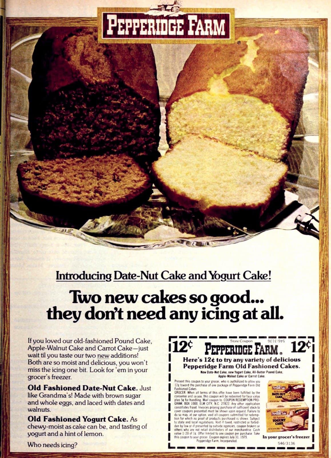 Vintage PF Date-Nut and Yogurt cakes (1978)