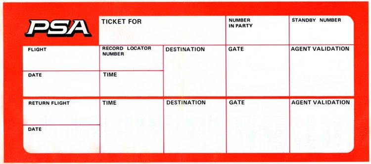 Pacific Southwest Airlines Ticket jacket with name, flight, flight times, gate, etc (1981)