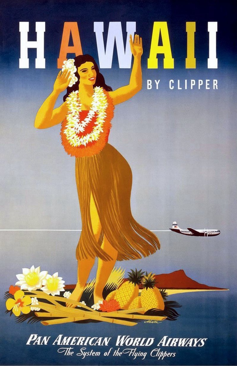 Vintage Pan Am - Pan American World Airways tourism poster for Hawaii