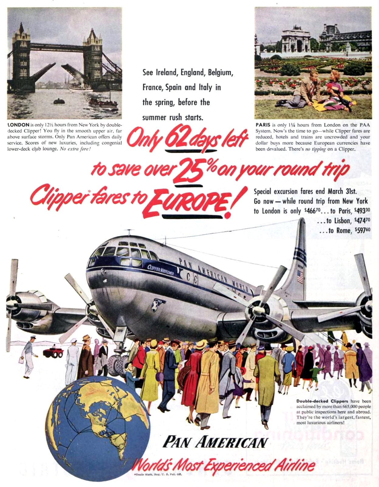 Vintage Pan-American Airlines - Clipper fares to Europe (1950)