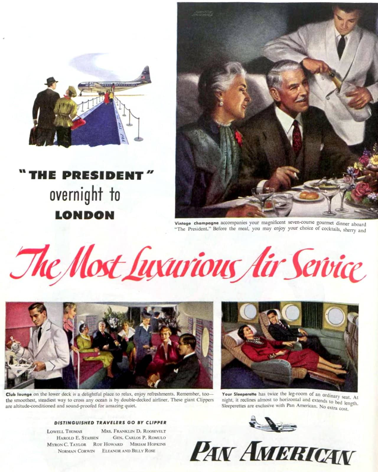 Vintage Pan-American Airlines - Luxurious air service (1950)