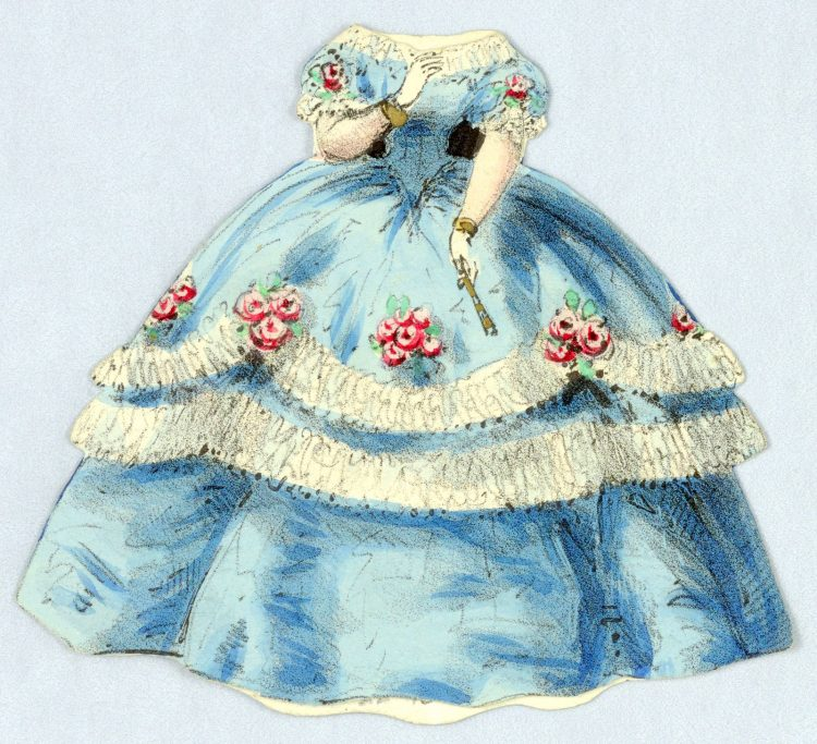 Vintage Paper Doll Costume in Blue with White Trim and Garlands
