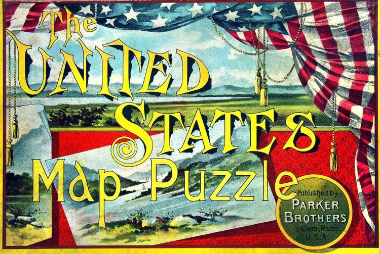 Vintage Parker Brothers United States map puzzle 1907