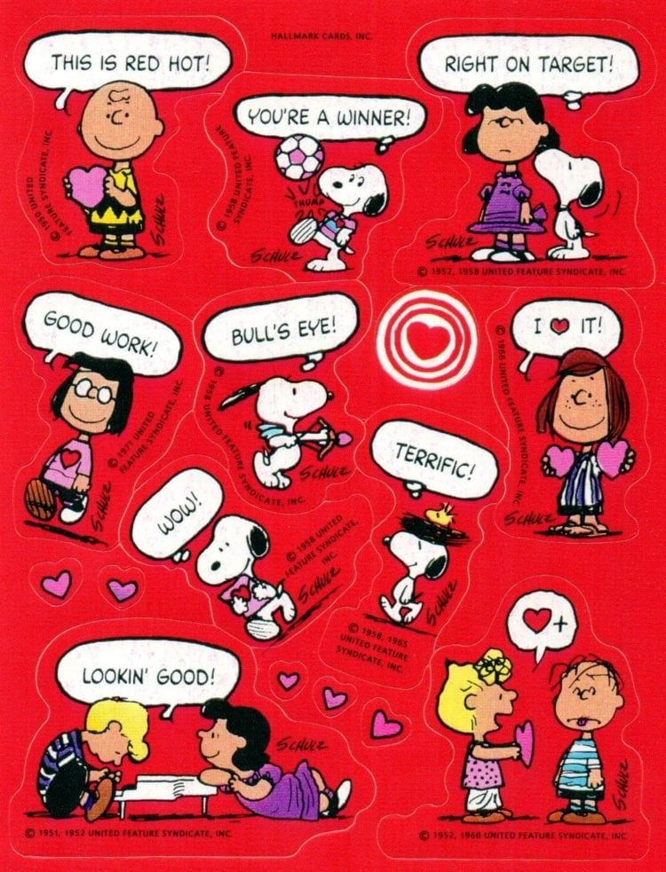 Vintage Peanuts Valentine's day - hearts sticker sheet
