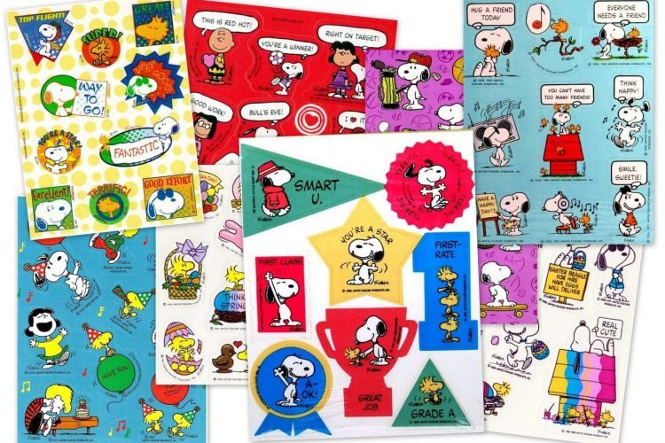 Snoopys Christmas Lyrics.Vintage Snoopy Peanuts Stickers Sheets 70s 80s