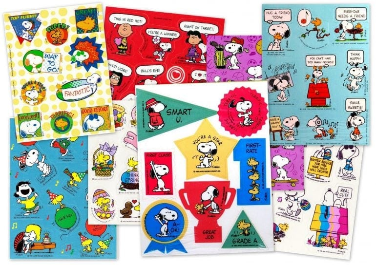Vintage Peanuts sticker sheets with Snoopy - Woodstock - Charlie Brown and the gang