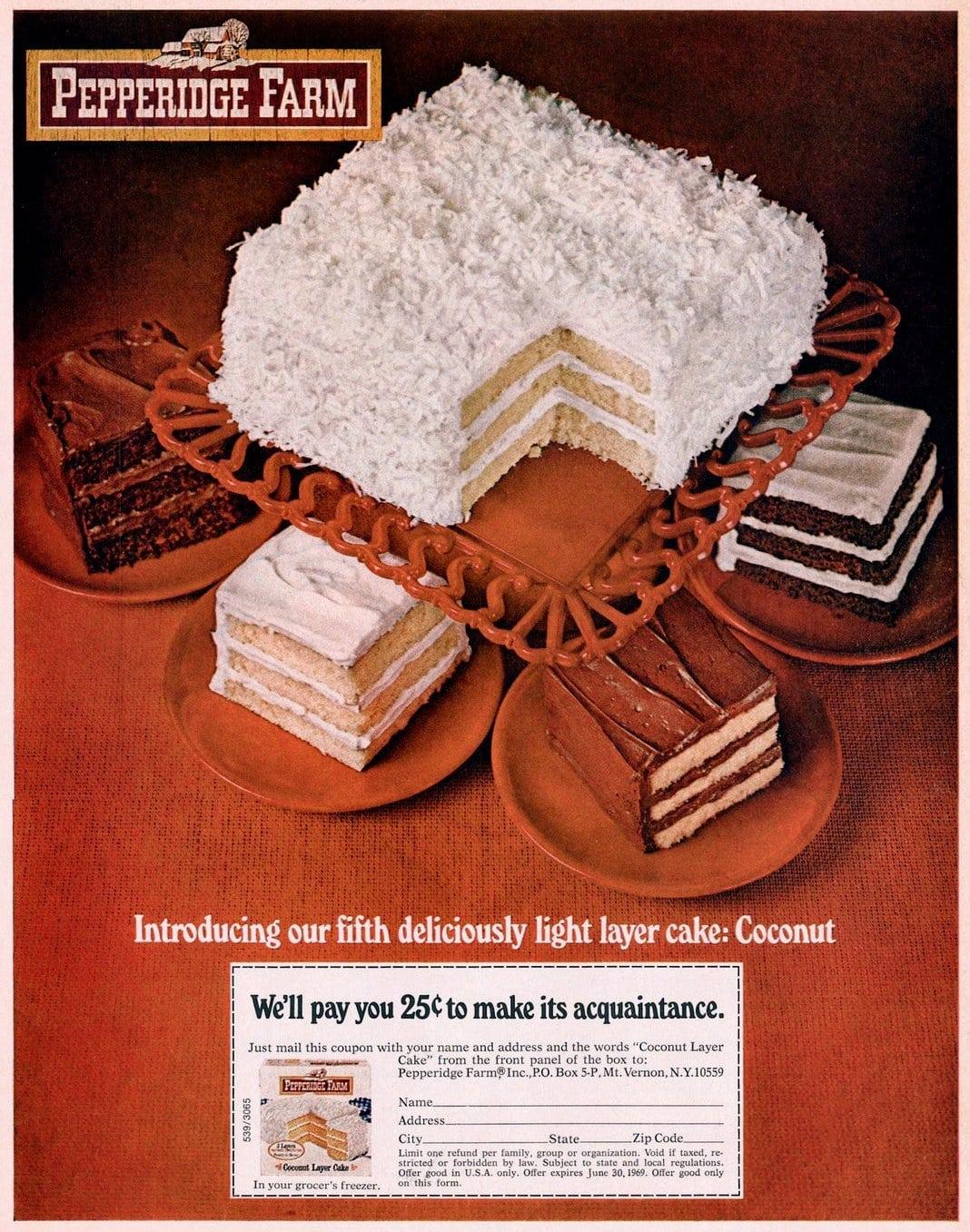 Vintage Pepperidge Farm Coconut Layer Cake (1969)