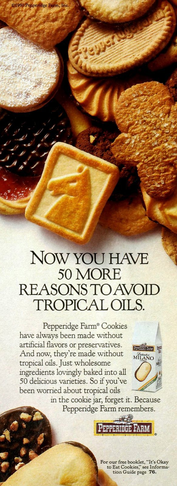 Vintage Pepperidge Farm packaged cookies without tropical oil (1990)