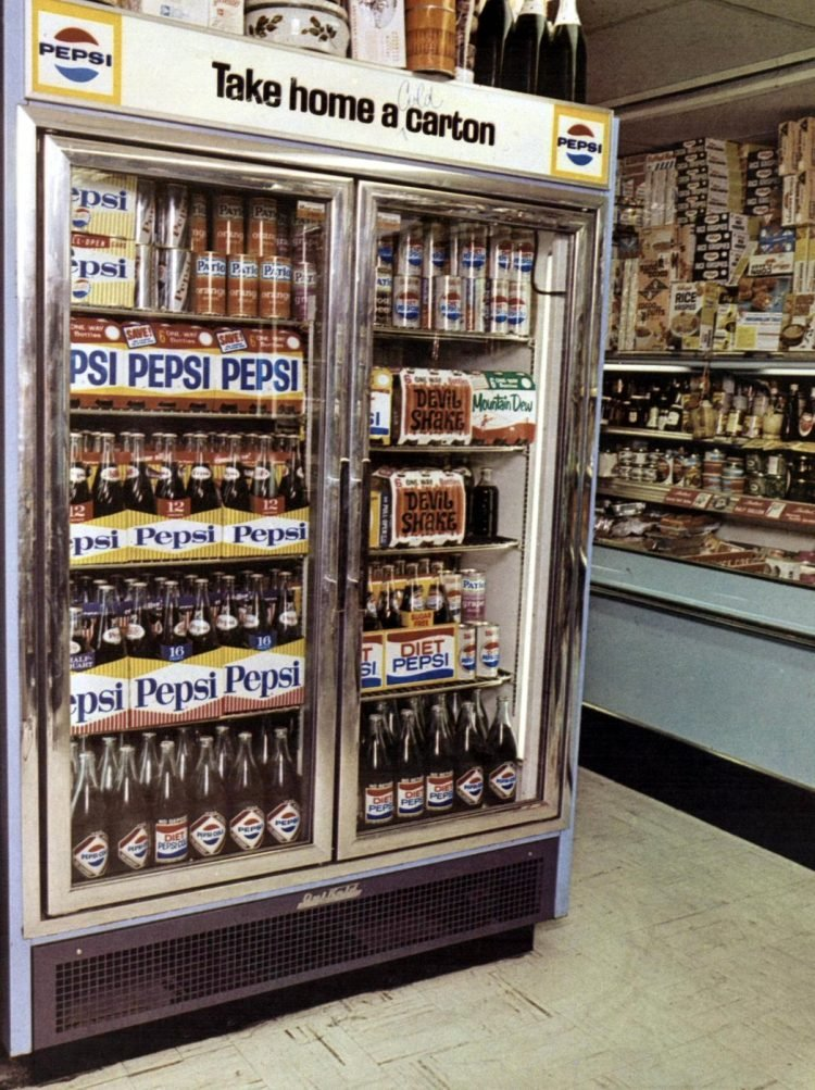 Vintage Pepsi refrigerator display from 1966