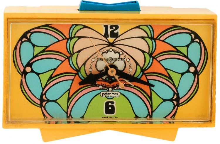 Vintage Peter Max Spectrum butterfly alarm clock
