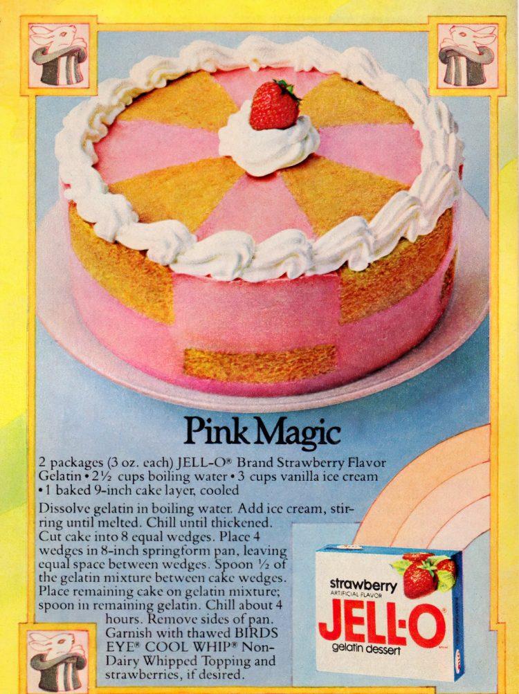 Vintage Pink Magic Jell-O cake recipe (1978)