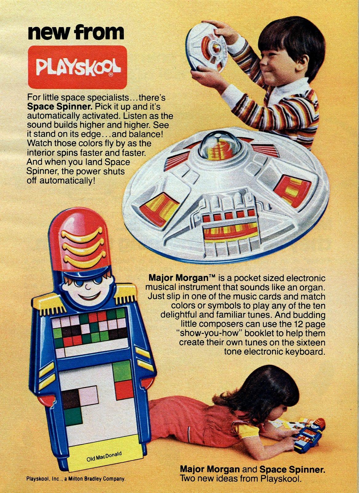 Vintage Playskool Space Spinner and Major Morgan toys (1979)