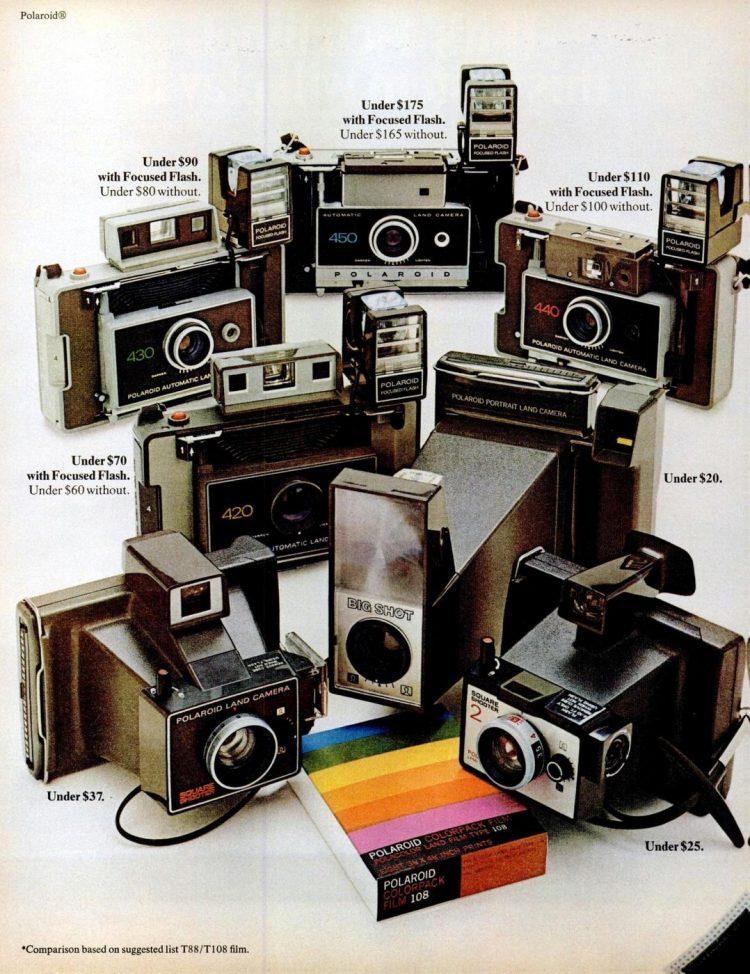 Vintage Polaroid cameras from 1972