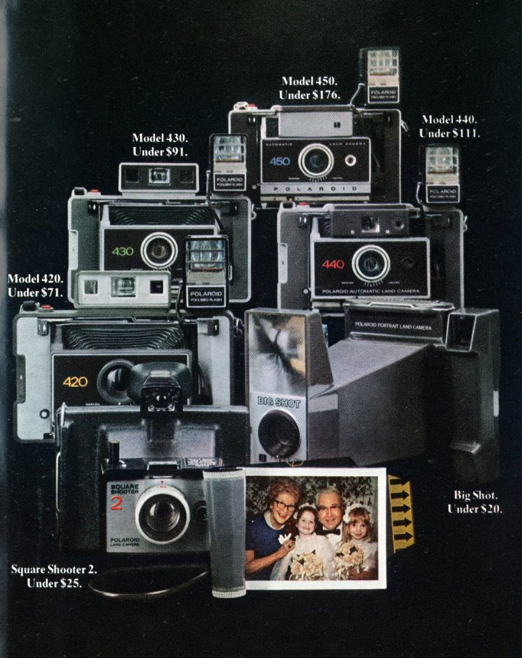 Vintage Polaroid instant camera lineup in May 1973
