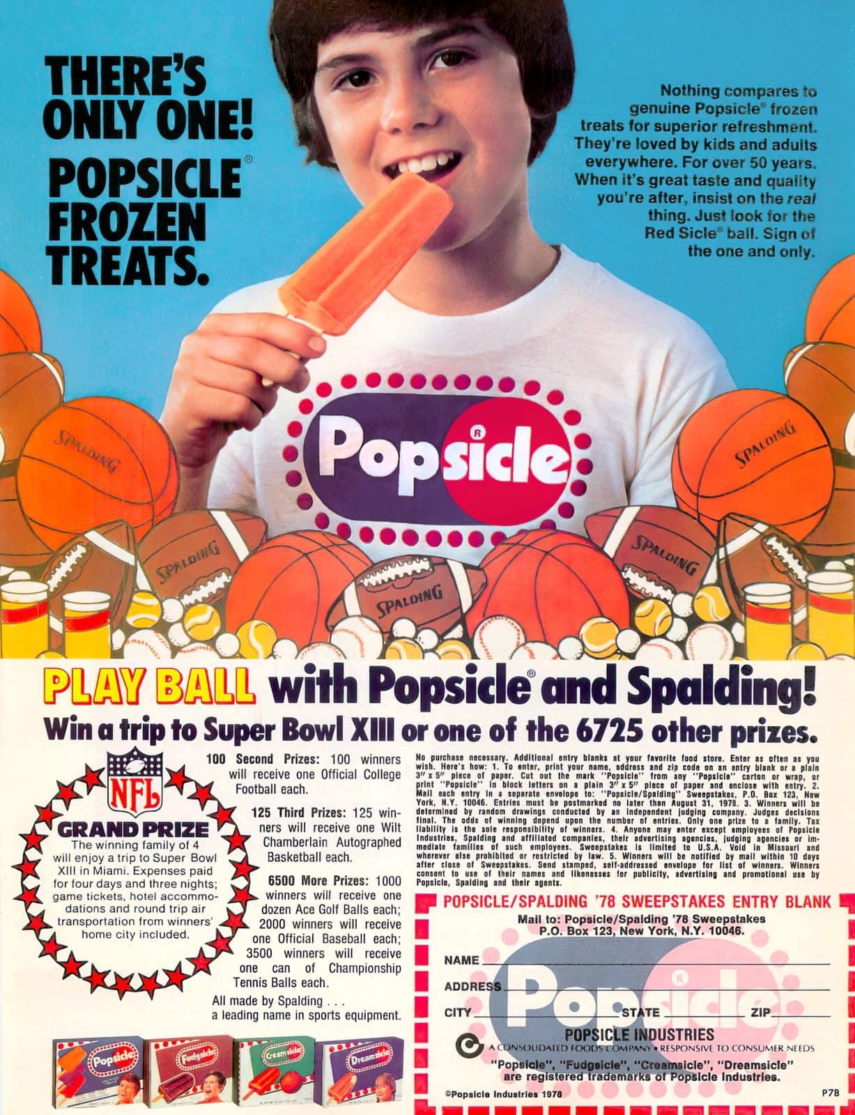 Vintage Popsicle contest (1978)