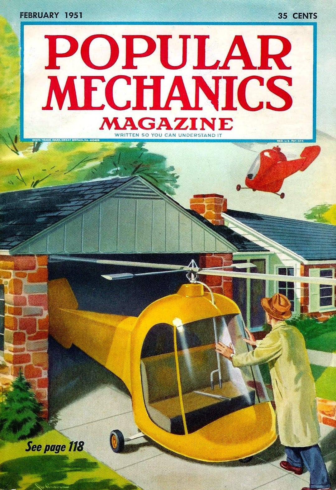 Vintage Popular Mechanics magazine cover - February 1951 - Futurism