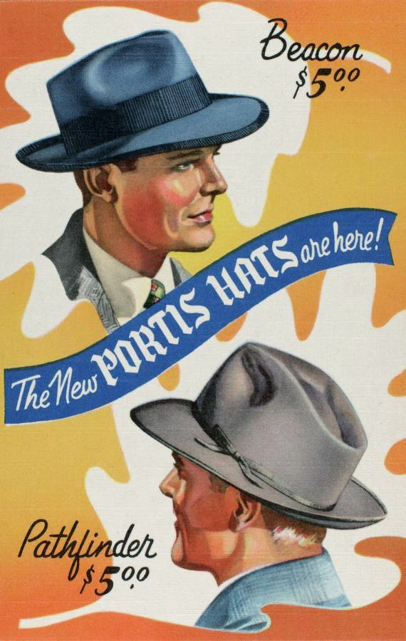 Vintage Portis hats - Beacon and Pathfinder from 1942