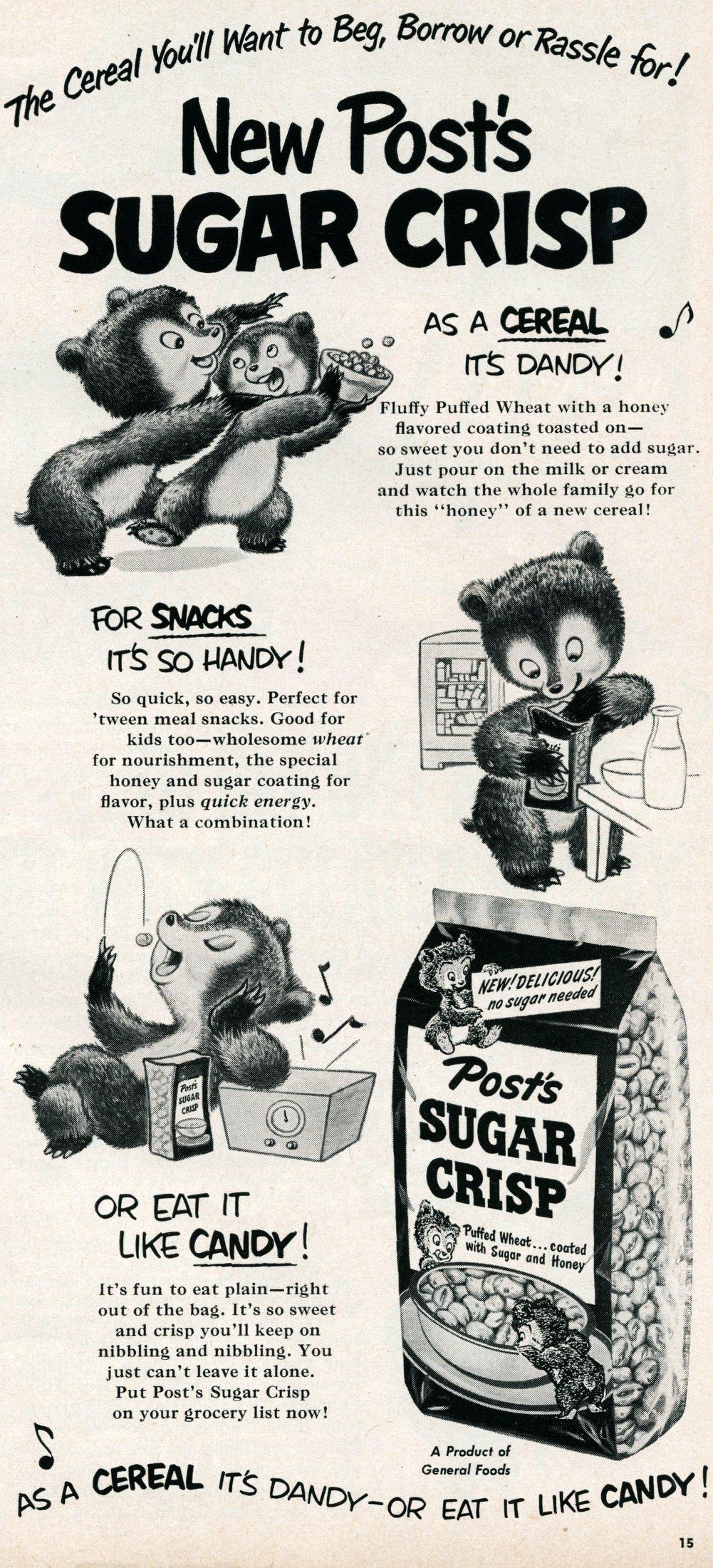 Vintage Post Sugar Crisp cereal (1950)