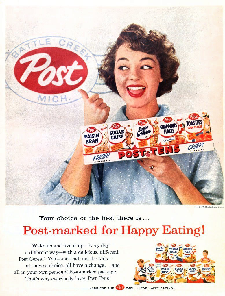 Vintage Post-Tens breakfast cereal - Small box 10-pack (1956)