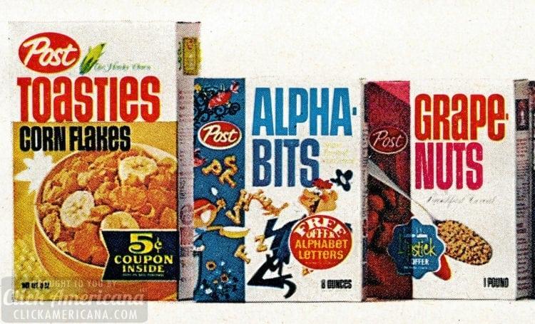 Vintage Post cereals Toasties Alpha Bits Grape Nuts