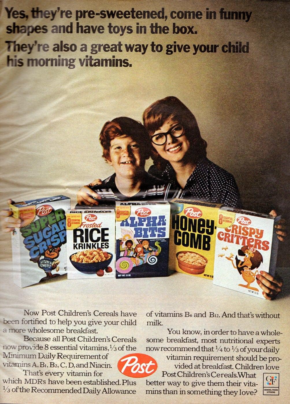 Vintage Post cereals for kids (1971)