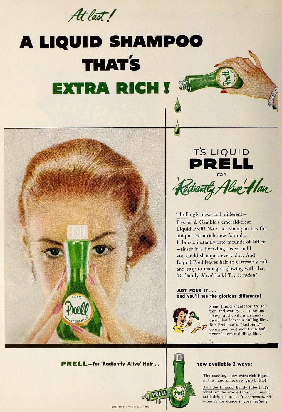Vintage Prell green shampoo (1959)