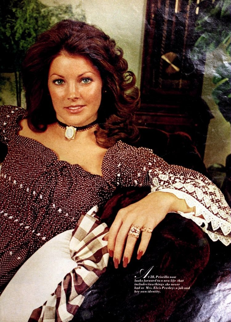 Vintage Priscilla Presley with curled hair style (1973)