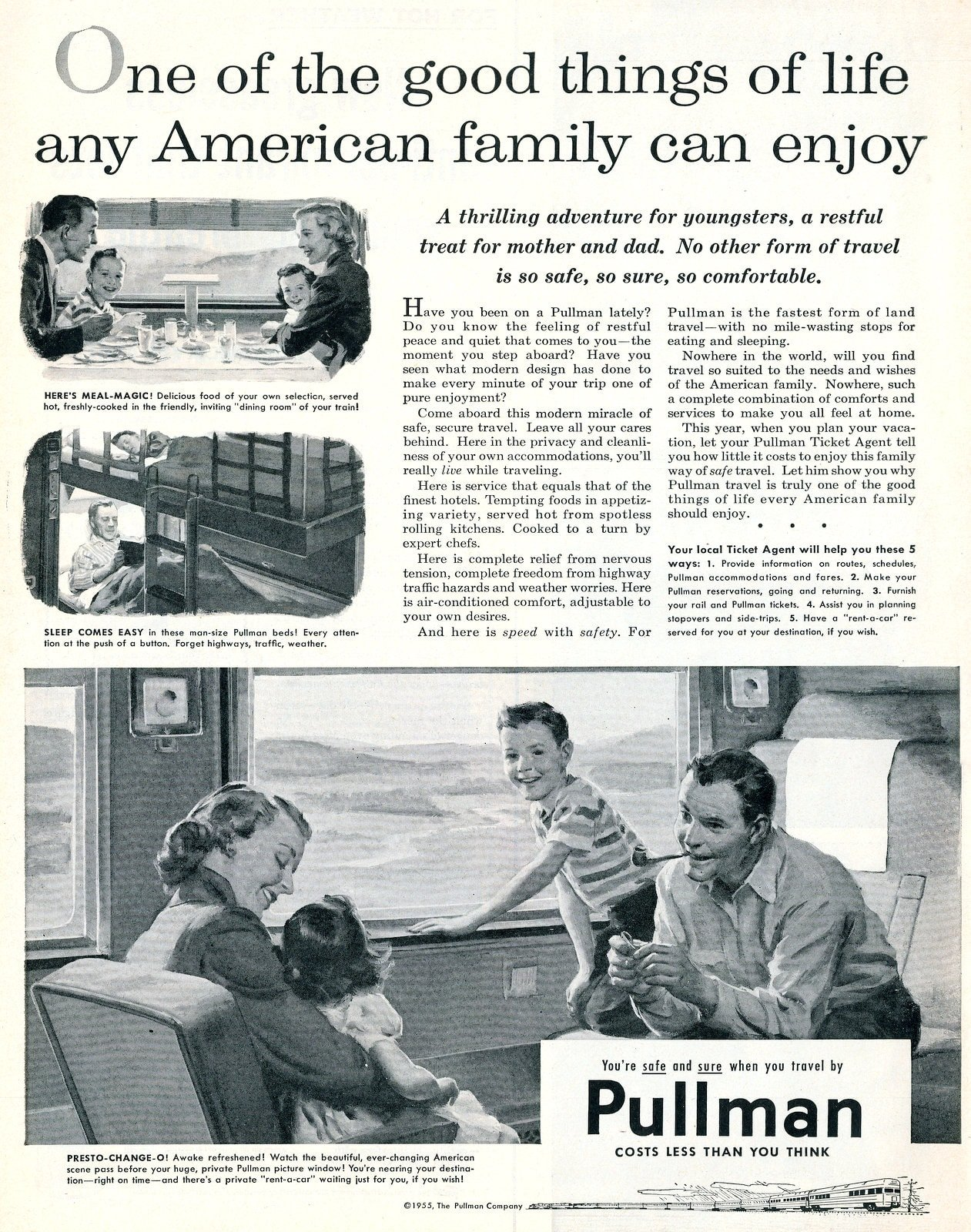 Vintage Pullman trains for family travel (1955)