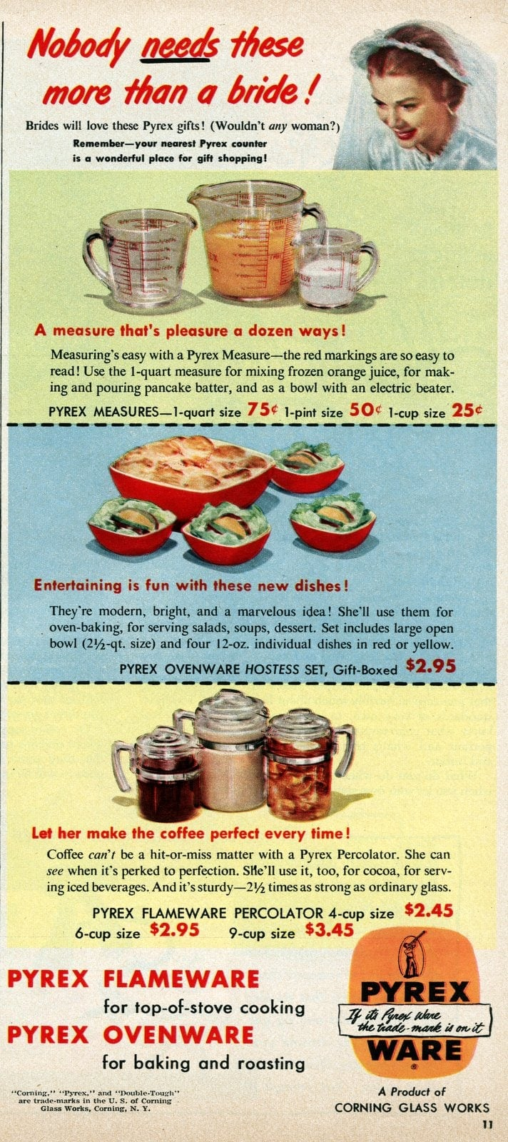 Vintage Pyrex kitchenware for a bride - ad from 1950 (1)