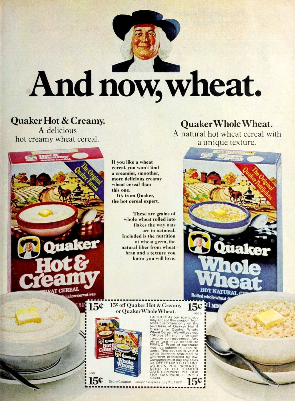 Vintage Quaker hot wheat cereal packets (1976)