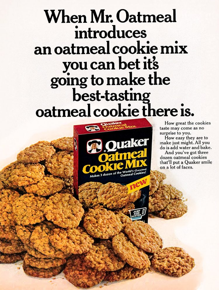 Vintage Quaker oatmeal cookie mix from 1977