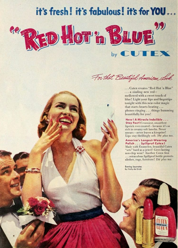 Vintage Red Hot and Blue nail enamel 1952