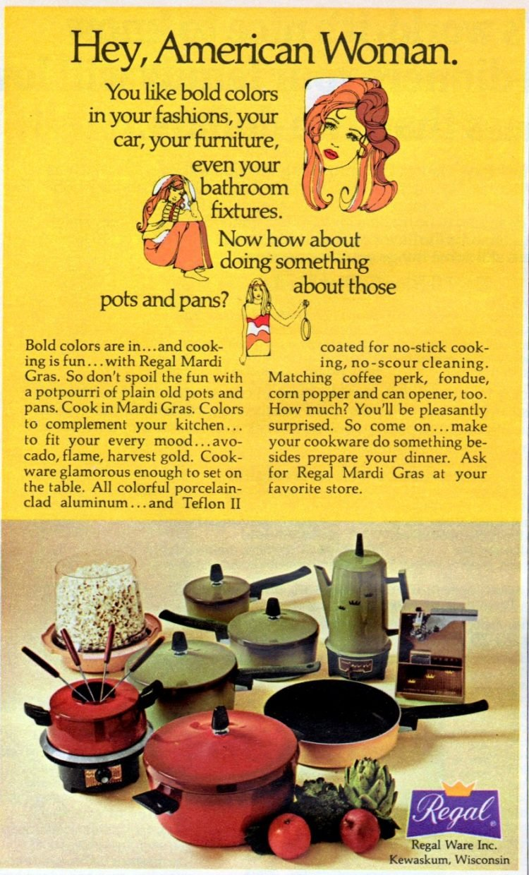 Vintage Regal pots and pans - Hey American woman - 1972