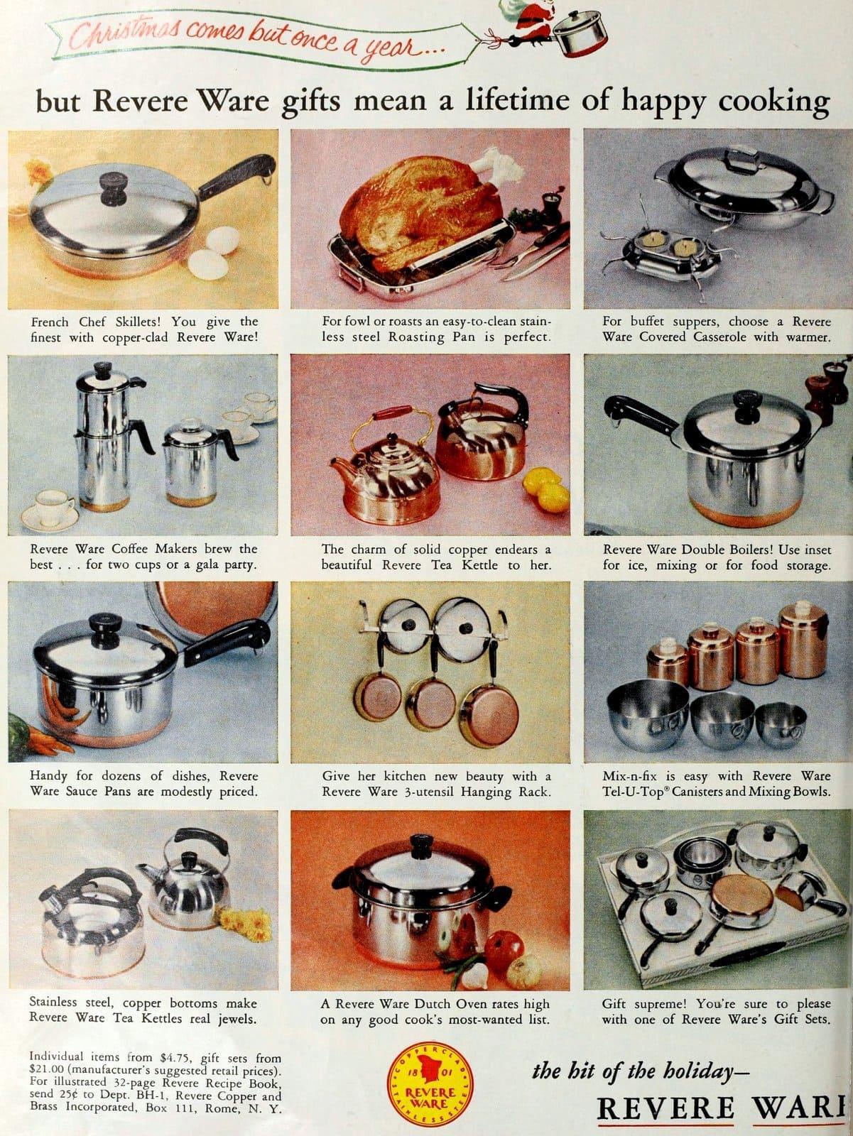 Vintage Revere Ware pots and saucepans (1959)