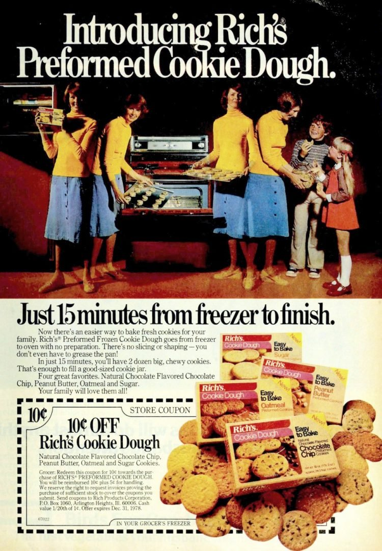 Vintage Rich's preformed cookie dough frozen food from 1977