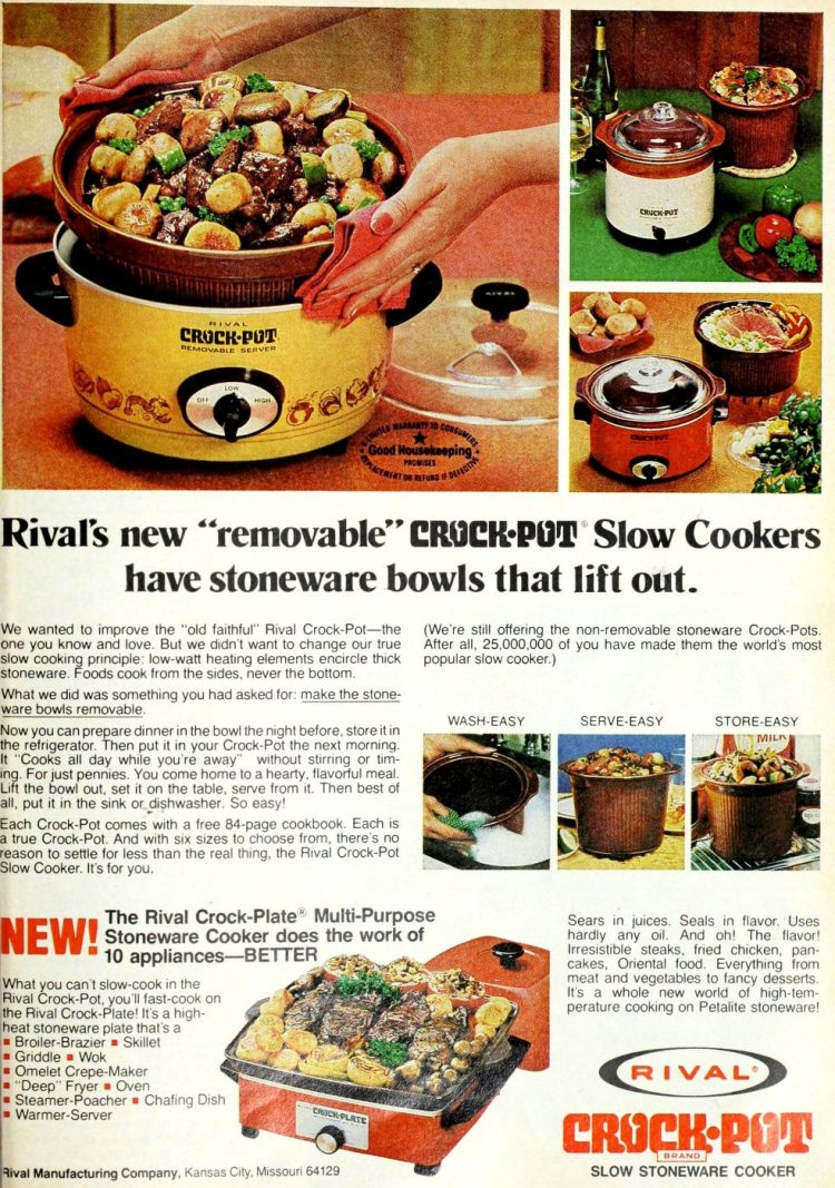 Vintage Rival Crock Pot slow cookers with removable stoneware bowls 1970s