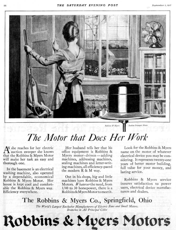 Vintage Robbins and Myers vacuum cleaner history from 1917