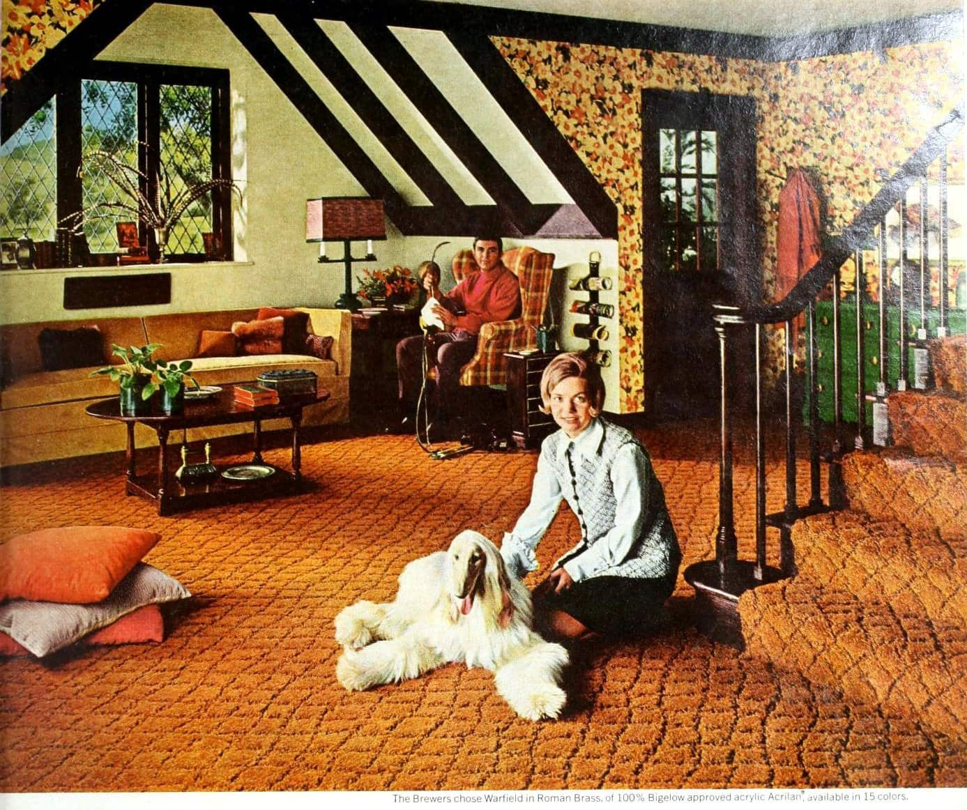 Vintage Roman Brass color - orange textured sculptured carpet (1969)