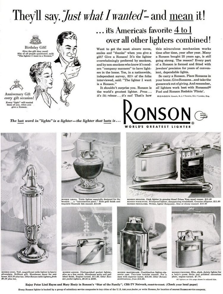 Vintage Ronson table lighters from 1952