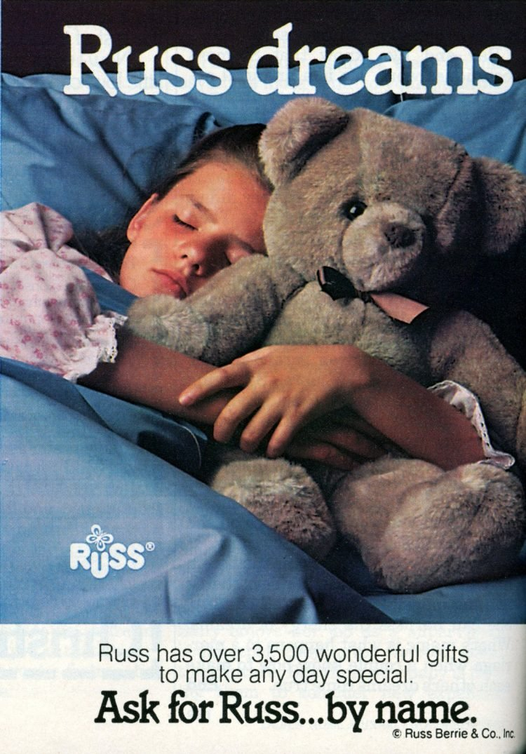 Vintage Russ teddy bear toy from 1985